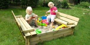caja de arena de madera